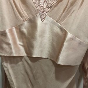 Tops - Pink sheer blouse dressy top lace and satin